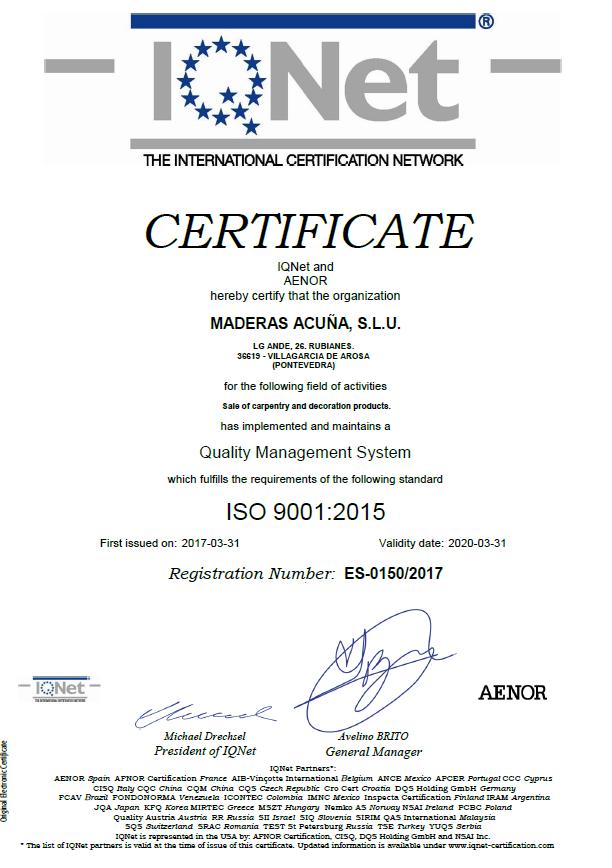 Certificado IQNET 9001:2015