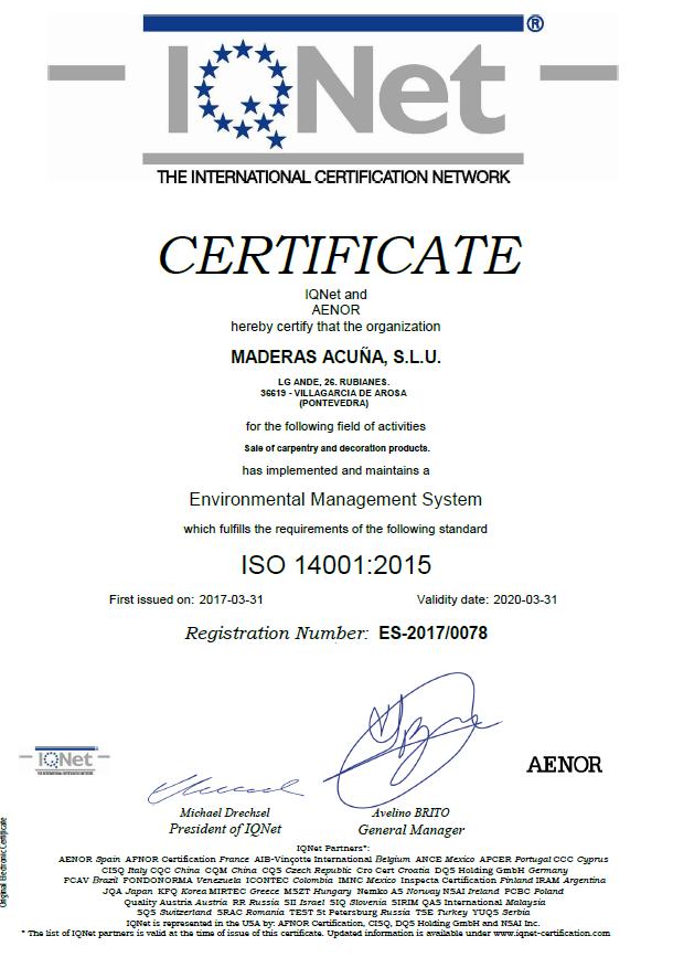 Certificado IQNET 14001:2015